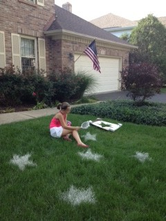 "<strong>Star Spangled Yard</strong>  This was far and away my tween's favorite activity. I never would have guessed the putting baking supplies on the lawn would entertain her to the extent that it did. But it was easy and fun and it turned out cooler than I thought it would. This has made the rounds on Pinterest, and instructions are <a href=""http://pinkandgreenmama.blogspot.com/2010/07/fourth-of-july-fun-sifted-flour-lawn.html"" target=""_blank"">here</a>. It's really super easy - cut out a stencil from cardboard (nongreasy pizza boxes work well or we used the box from a Target picture frame). Place the stencil, use the spray bottle to wet the exposed grass, and then sprinkle the wet grass with flour while the stencil is still in place. Stars are always fun, but you could do ""USA"" or ""1776"" or anything else that makes you feel patriotic! We think this could work past the 4th - my tween's wanting to do ""11""s all over the yard for her birthday."