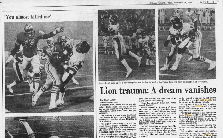 100 moments for 100 years of the Bears: Dave Williams stuns Lions in OT with kickoff return for touchdown