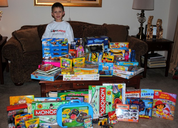 Eight Year Old Boy Donates His Birthday Toys To Charity
