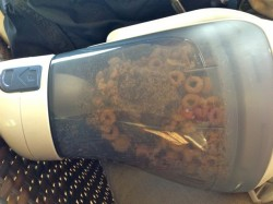 DustBuster filled with Cheerios