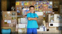 A 9 year-old boy, Caine Monroy, constructed an elaborate arcade out of cardboard boxes in his dad's used auto parts store in Los Angeles. He was surprised by hundreds of customers in an event that was turned into a movie. His boundless creativity and enthusiasm was an inspiration to all who saw it.