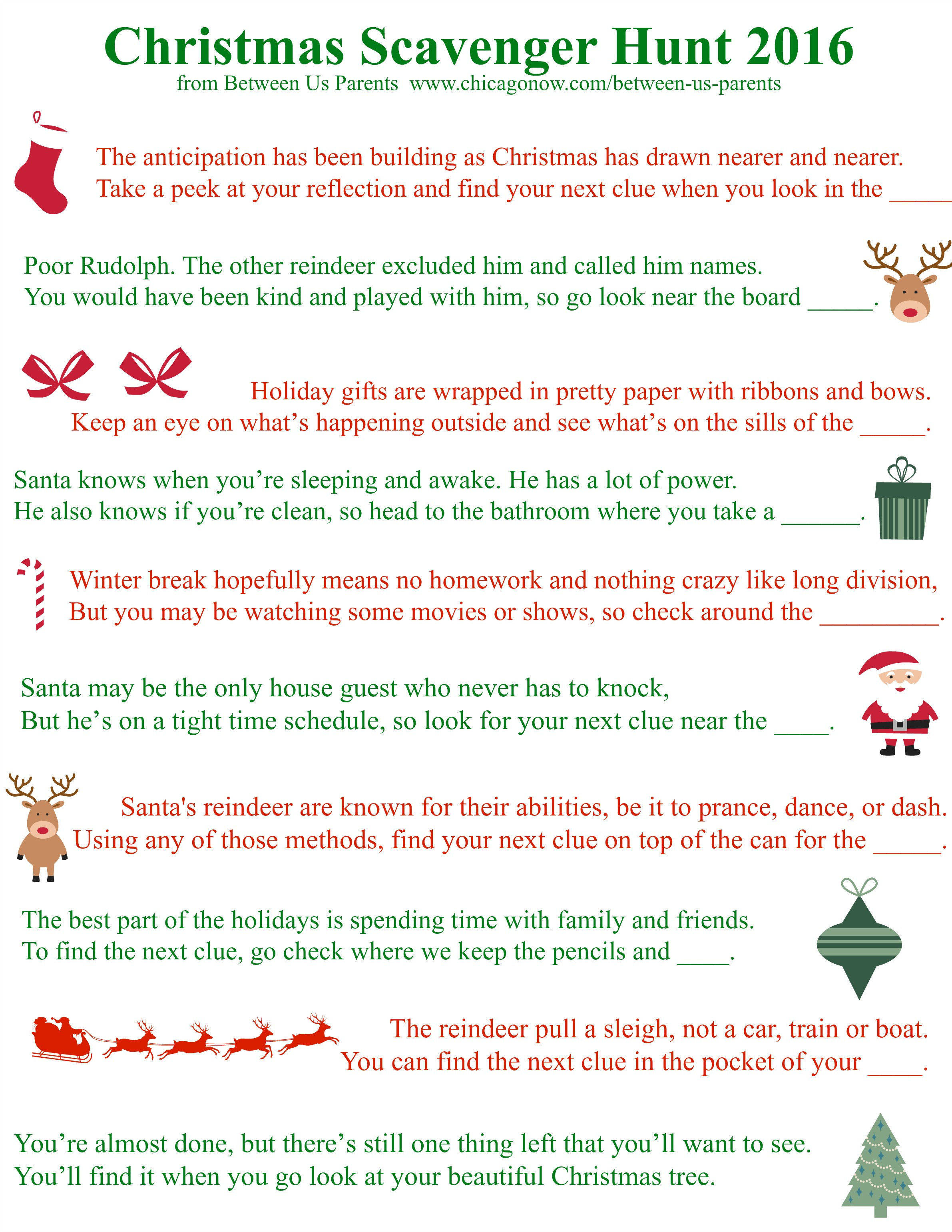 photo about Christmas Scavenger Hunt Printable Clues identify Printable Xmas Scavenger Hunt Clues, 2016 Version