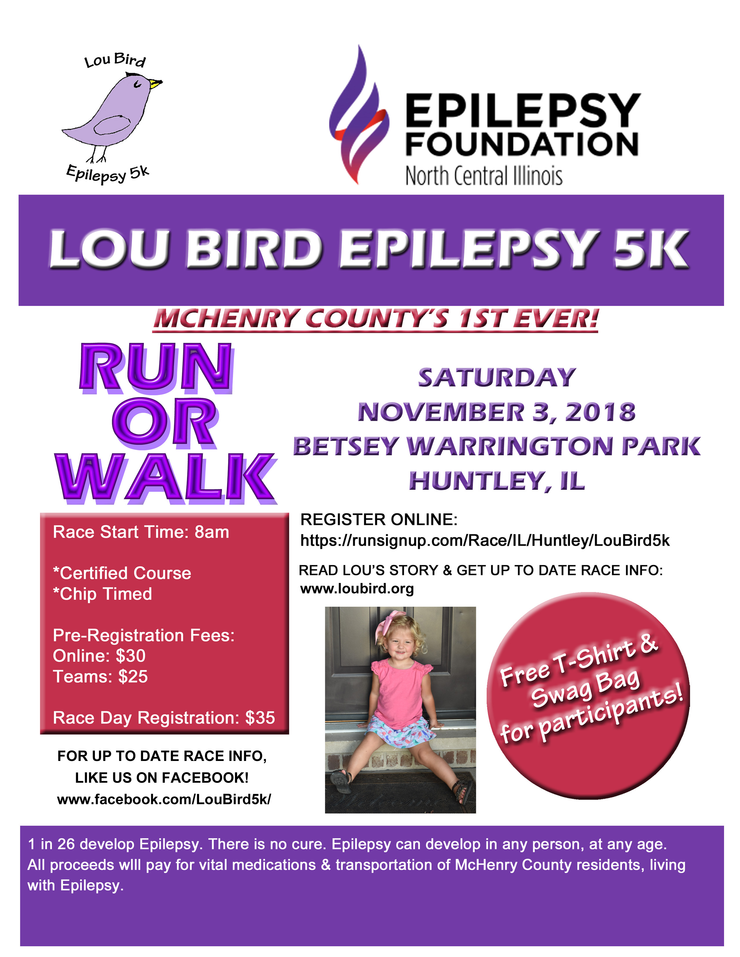 Helping the many faces of epilepsy in McHenry County; LouBird 5K Nov. 3 in Huntley