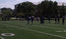 Coach Pat Fitzgerald leads the practice