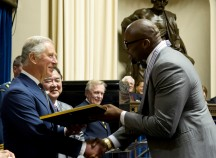When Izzy met the Prince: Prince Charles bestows the Order of Manitoba on Chicago Bear Israel Idonije