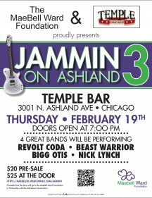 Concert Preview: Jammin' On Ashland 3 - Bigg Otis Blues, Beast Warrior and Nick Lynch - A MaeBell Ward Foundation Benefit (Thursday, February 19, 2015 at Temple Bar)