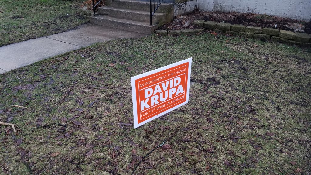 A 13th Ward sign in the suburbs.  A sign of hope?