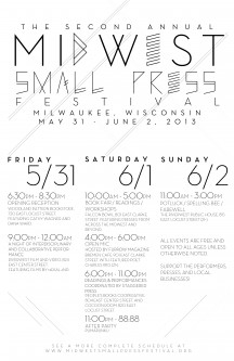 Midwest Small Press Festival May 31st--June 2nd in Milwaukee