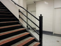 Thorndale station features historic newel post.