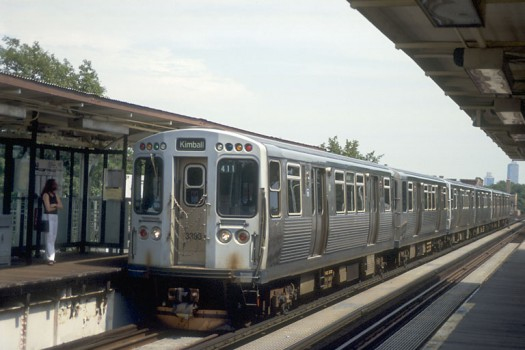 A car from the 3200 series on the Brown Line. Photo by Mike Farrell from chicago-l.org.