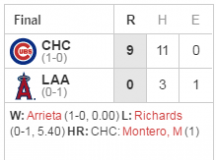 Embracing The Target: Cubs 9, Angels 0