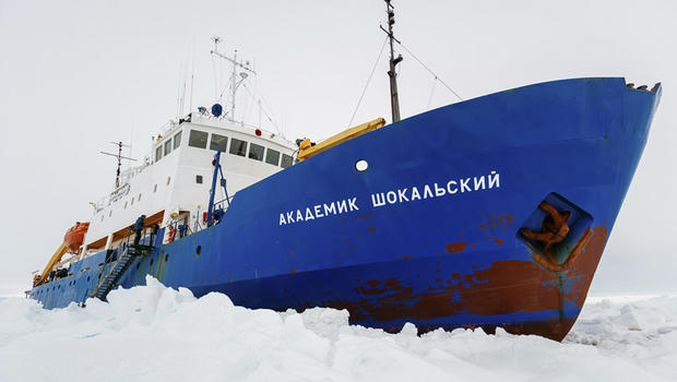 The ice-bound Akademik Shokalskiy, hoisted on its own petard, as it were