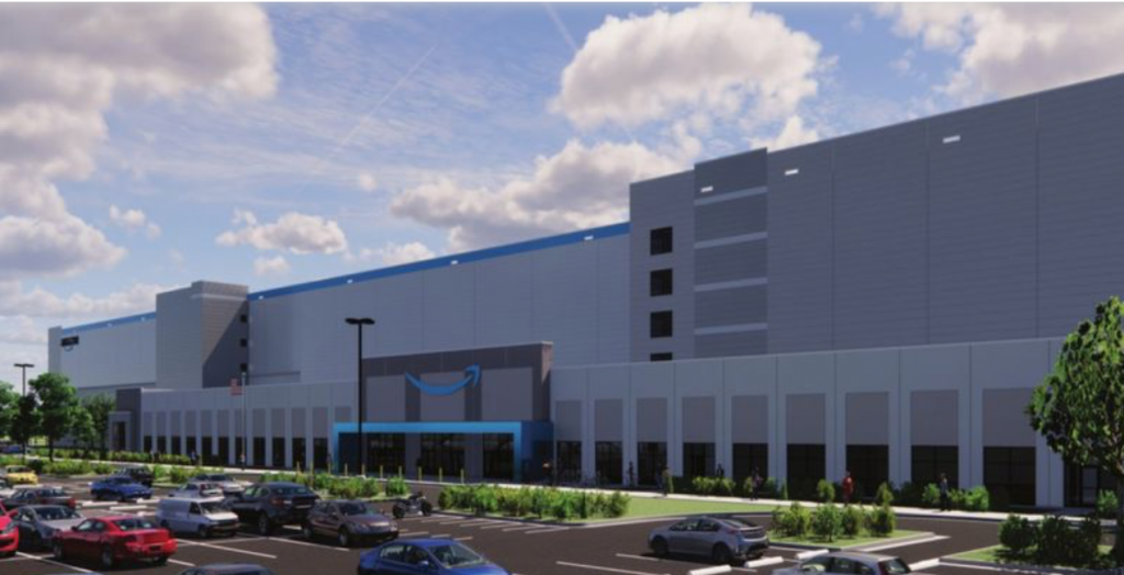 An artist's rendering shows the design of an Amazon fulfillment center being built at Harlem Avenue and Vollmer Road in Matteson. (Village of Matteson)