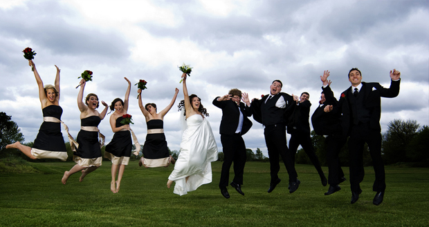 jumping wedding picture