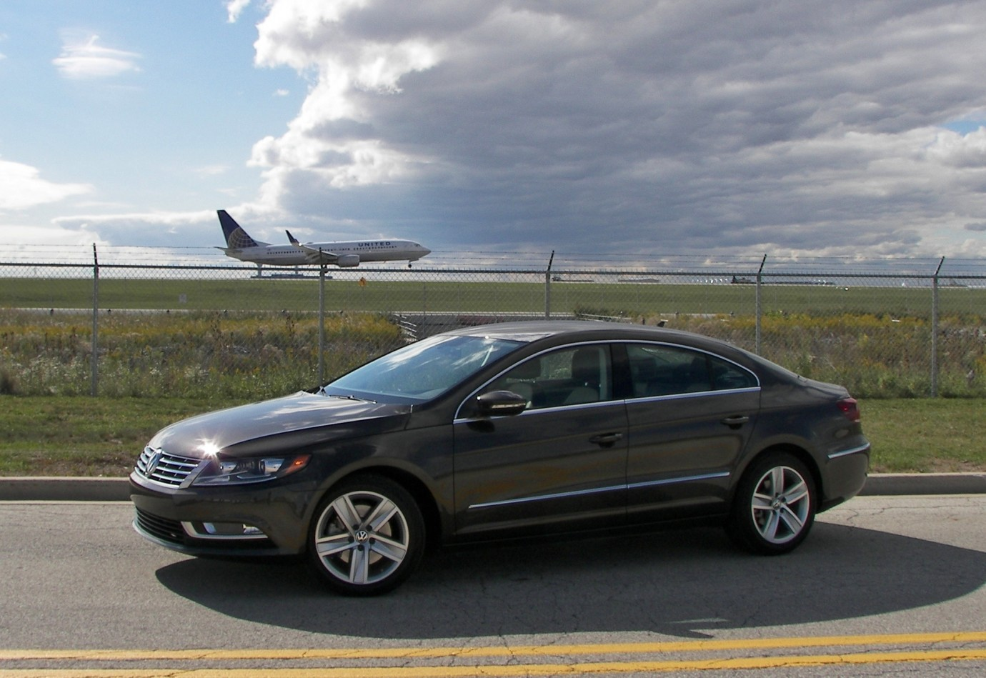 The 2013 Volkswagen CC Sport, airplane watching, from a safe distance.
