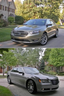"""Super-Size"" us. (top to bottom) the 2013 Ford Taurus Limited AWD and the Chrysler 300S V6. Two full-sized American premium sedans, each priced at $40,000, well contented."