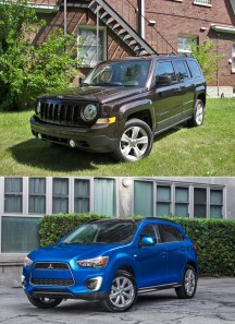 "(TOP): Mid-compact 2014 Jeep Patriot starts at dirt affordable $15,900 (albeit with manual windows and manual transmission)<br> <br> (BOTTOM): compact 2015 Mitsubishi Outlander Sport SAV (including standard power windows and 18"" alloy wheels) commences at $19,595.<br> <br> Each deserves a 2nd look from budget shoppers.<br>"