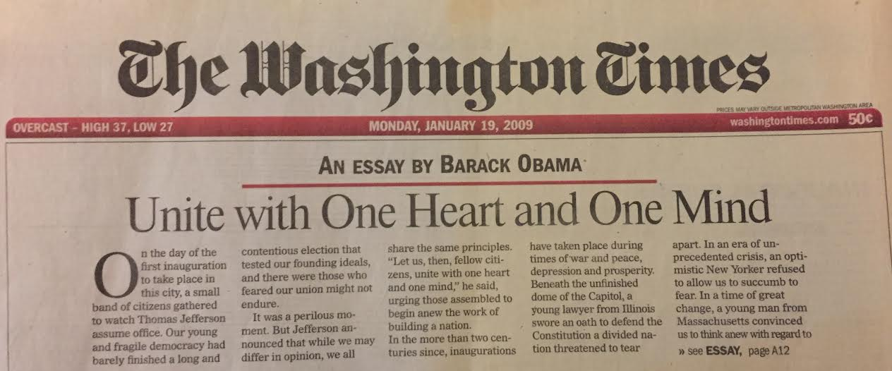unite one heart and one mind barack obama s essay on mlk   unite one heart and one mind barack obama s essay on mlk day 2009 the day before his first inauguration