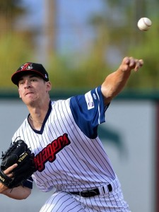 Zack Erwin pitches for the Great Falls Voyagers (PHOTO CREDIT: Great Falls Tribune / Rion Sanders)