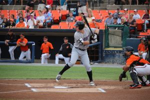Zack Collins bats against the Frederick Keys (Mike Brady for FutureSox)