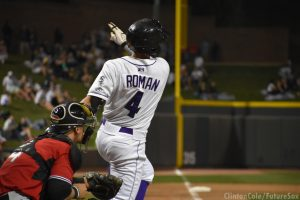 Mitch Roman hits for the Dash, 2018 (Clinton Cole / FutureSox)