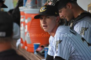 Michael Kopech in the Knights' dugout, 2018 (Clinton Cole / FutureSox)