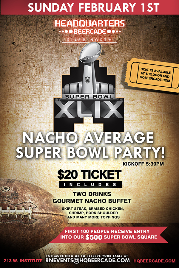 Promo image for Headquarters Super Bowl party