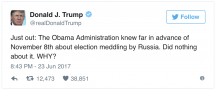 We start with a Trump tweet. In this one, he blames Obama for not doing anything after finding out about Russian hacking in the election. DUDE...you should be on your knees thanking him every day. If he said a word, you'd still be selling property and cheating people out of money. I'm pissed at Obama because he kept it on the downlow. Who knew Don and I would ever agree on anything?