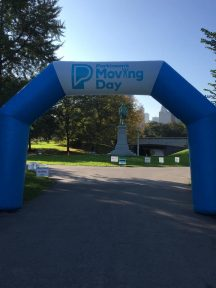 The start -finish line for the Moving Day walk.