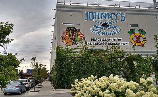 Johnny's Ice House, who has hockey lessons for beginners, is also where the Chicago Blackhawks hold their practices. [Photo by Sal Barry]