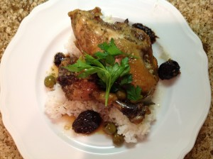 Chicken Marbella, complete with bay leaves, prunes and green olives