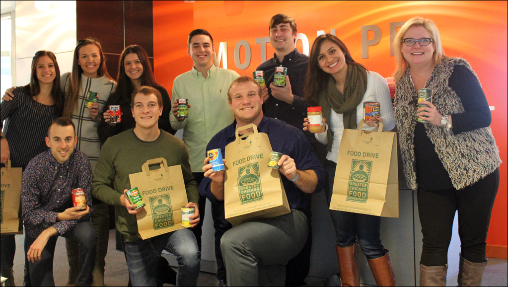 Motion PR staff collected donations for the Greater Chicago Food Depository