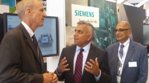 Governor Rauner speaking w/ Siemens Executives at the Int. Manufacturing Technology Show at McCormick Place on Sep. 13, 2016. And, yesterday the Gov. used the more basic bricklayer technology, putting the Kabosh on a Grand Bargain that Republican base leader Dan Proft said was neither Grand, nor a Bargain!