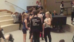 FDS students mingling with each other in their dance attire, as Ronn Stewart would have wanted, prior to his October 29, 2017 Memorial Service at Regina High School in Wilmette, IL