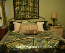 A quilt on a bed, what an idea! I also have one on the wall and two on the bedframe. And yes, I did look for other ways to have more quilts in our bedroom.