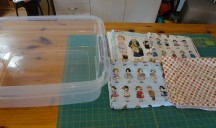 Here are the fun fabrics and the bin I bought. You could use any size bin.