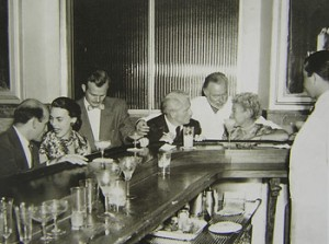 "The Hemingways with friends at La Florida (""Floridita""), a bar in Havana, Cuba. L-R: Roberto Hererra, unidentified man, Gianfranco Ivancich, Mary Hemingway, unidentified woman, Ernest Hemingway, and Adriana Ivancich. Credit Line: Ernest Hemingway Collection. John F. Kennedy Presidential Library and Museum, Boston."