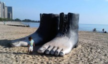 Giant Foot Sculpture At Oak Street Beach: What Are They Thinking or Unthinking?