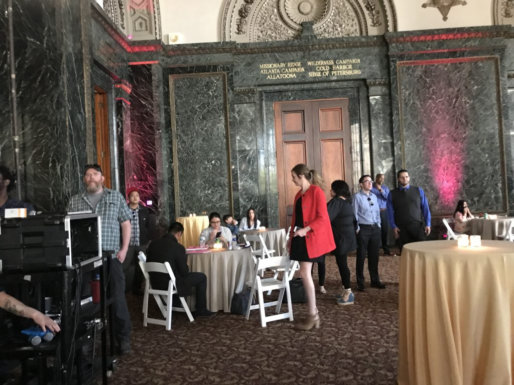Inside the GAR Hall at the Chicago Cultural Center waiting for the announcement. Photo: Carole Kuhrt-Brewer