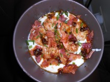 Shrimp and Grits with Red Stag Honey Tea Bourbon Sauce