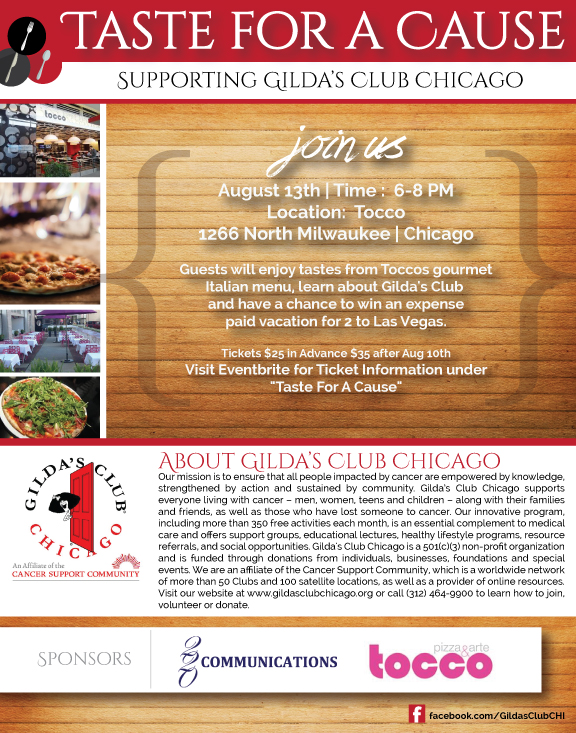Taste For A Cause Offers, Food , Fun , Support for Gilda's Club Chicago