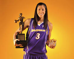 Reigning WNBA MVP and Naperville native Candace Parker, with trophy in hand