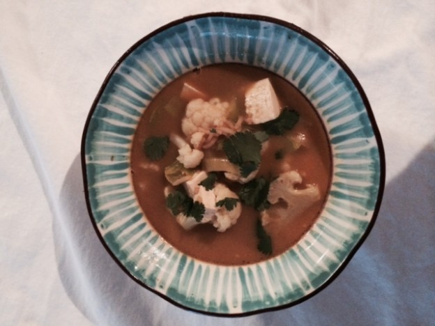 Meatless Monday: Green Curry Cauliflower Tofu Soup