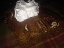 pumpkin cake with soy topping pic