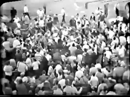 Fans storm the field after the Don Cardwell no-hitter. Anyone see Cooney in there? Screen shot from YouTube video of WGN TV broadcast.