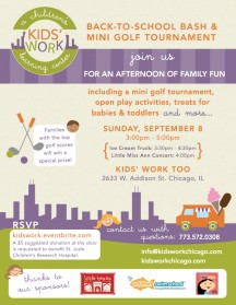 Join me at the Kids' Work Chicago Family Mini Golf Tournament to benefit St. Jude Children's Hospital